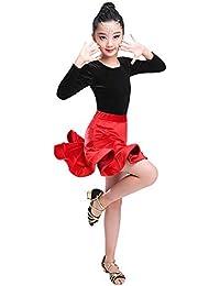 Vestido para el niño Niñas niños Vestido de baile latino de manga larga  Rumba Samba Salón de baile Ropa de baile… 0c5fb3f4a153d