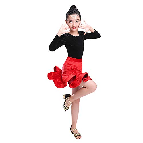 Kostüm Cosplay Prinzessin Kinder Mädchen Latin Dance Kleid Langarm Rumba Samba Ballsaal Dancewear Party Dance Professionelle Split Art Kleid Anzug Performance Wettbewerb Tanzkostüm Schicke Party