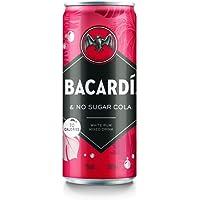 Bacardi Rum & Cola Zero Ready To Drink, Cocktail Pronto da Bere, Confezione da 12 Lattine x 25 cl