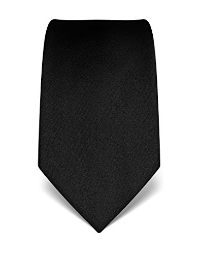 Vincenzo Boretti Herren Krawatte reine Seide uni einfarbig edel Männer-Design gebunden zum Hemd mit Anzug für Business Hochzeit 8 cm schmal / breit schwarz (Schwarz Seide Krawatte Reine)