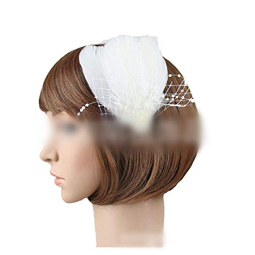 Royal Court Bankett Ball Pfauenfeder Seite Chuck Blume Braut Hochzeit Kleid Ornament (Farbe : White) ()