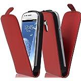 Cadorabo ! PREMIUM - Hülle Flip Style Design für Samsung Galaxy S3 MINI (GT-I8190) in CHILI-ROT