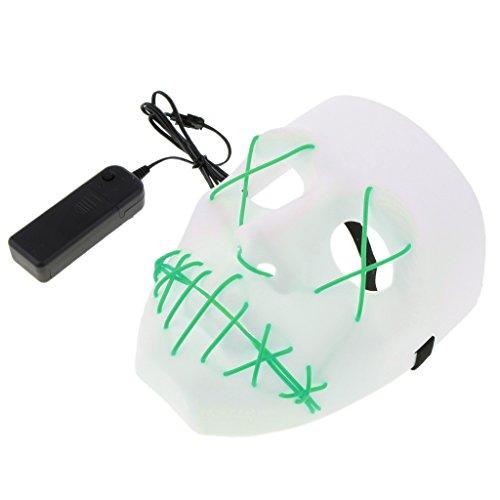 D DOLITY LED Leuchtende Schädel Maske Skelett Maske Halloween Kostüm Maske mit Batterie Energie Erhalten - (Grüne Energie Halloween Kostüm)