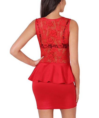 KRISP® Damen Minikleid mit Schößchen & Spitze Rot (3127)