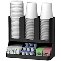 Mind Reader Flume' 6 Compartment Upright Coffee Condiment and Cups Organizer, Black by Mind Reader