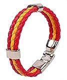 Distinct® Especial Joyería personalizada Brazalete trenzado de cuero Banderas Nacionales Brazaletes (España)