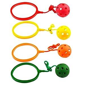 Toyvian 4 Stücke Boomerang Ball Springball mit Schaukel Ball Handgelenk Band Ball an der Schnur Handball Kinder Springring Sport Fitness Spiel Kindergeburtstag Mitgebsel