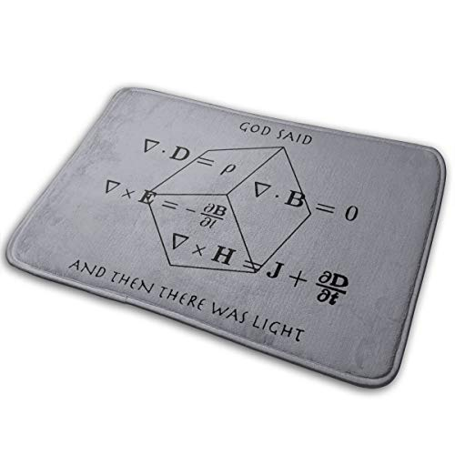 Dimension Art God Said Maxwell Equations and Then There was Light Memory Foam Bath Mat Non Slip Absorbent Super Cozy Soft Velvet Bathroom Rug Carpet, 15.7