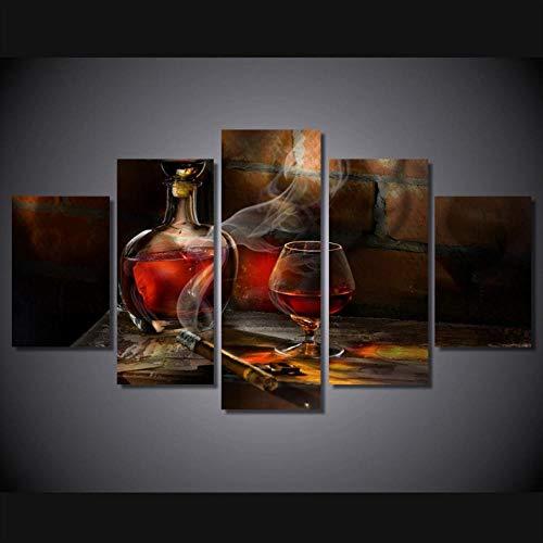 Cyalla Leinwanddrucke 5 Stücke Alkohol Und Tabak Wandkunst Poster Für Küche Decor Hd Leinwand Malerei Moderne Wohnkultur Modulare Bilder Drucke Auf Leinwand 150X80Cm -