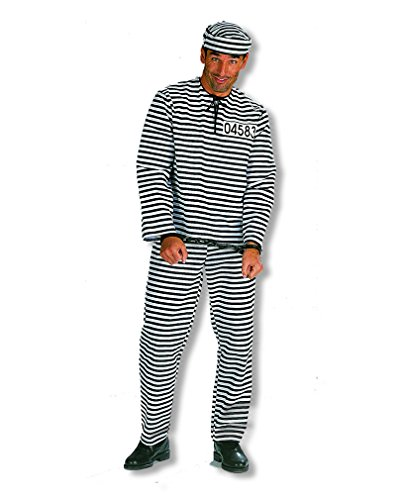 Sträflings Kostüm Plus Size XL/56 (Sträfling Plus Size Kostüme)