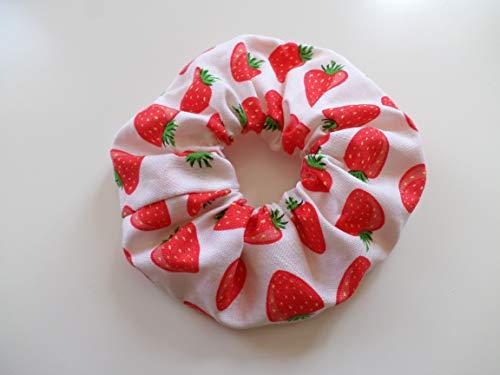 Haargummi - Erdbeeren / 100% Baumwolle/Scrunchie rot weiß/Haar Accessoires/Handgefertigt