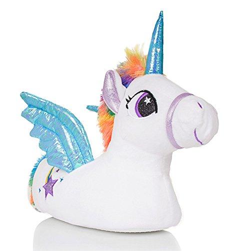 Martildo Fashion, Señoras 3D Novedad Zapatillas de Regalo de Unicornios Cómodas Cálidas Suaves y Divertidas, Azul con alas, L (EU 40-41)