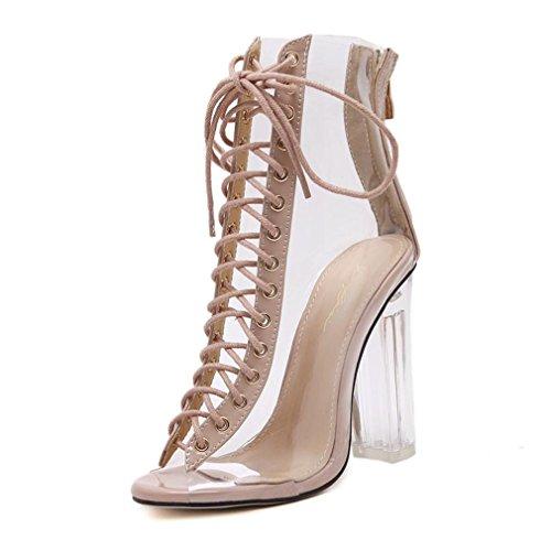 Sommer Sandalen transparente Gladiator Sandalen Schuhe klare Chunky Heels Frauen Ankle Boots Khaki 4. (Wrap Heel Chunky Ankle)