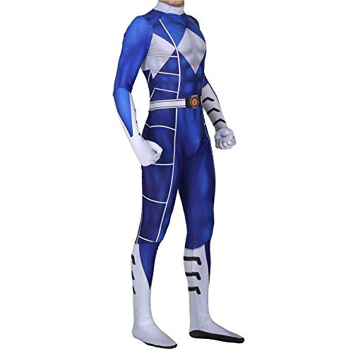 Power Ranger Kostüm Kinder Erwachsener Cosplay Kostüm Superhelden Halloween Onesies Mottoparty Karneval Strumpfhosen Kostümball Prop,Blue-Adult-XL (Power Halloween-kostüm Ranger)