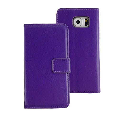 TCD für Samsung Galaxy S6Edge Plus [Nur] Stylische Schutzhülle Slim anspruchsvolles Farbe PU Leder Geldbörse mit Kreditkarte Slots [inkl. Gratis Displayschutzfolie und Stylus Pen], Violett -