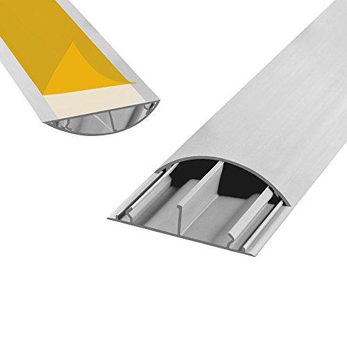 Fussboden TV Kabelkanal selbstklebend 1m grau 50x12mm PVC TV Kanal Wand Boden Fußboden Kabelbrücke halbrund rund HDMI Fernseher Lautsprecher Koaxial Kabel 1 Stück ARLI (Wand Abdeckung Lautsprecherkabel)