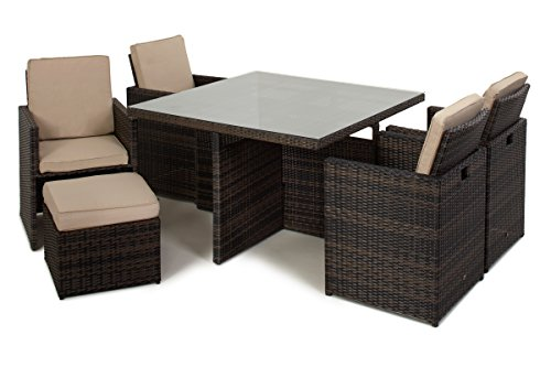 San Diego Dallas Baby Rattan Garden Furniture Brown 5 Piece Cube Set With Footstools Set