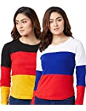 he Dry State Women's Cotton Mustard and Red White Colour Round Neck Long Sleeves T-Shirt Combo CCBG163G161-$P(Pack of 2)