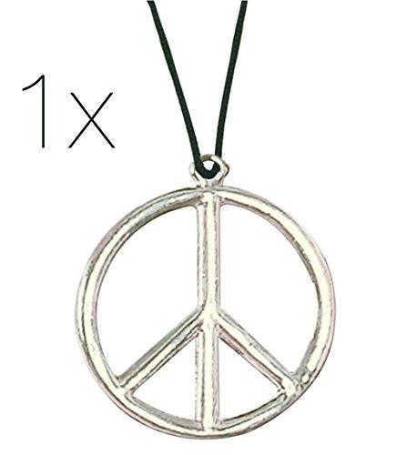 TK Gruppe Timo Klingler 1x Peace Kette Hippie Kostüm 70er 80er Jahre Accessoires Halskette Verkleidung ()