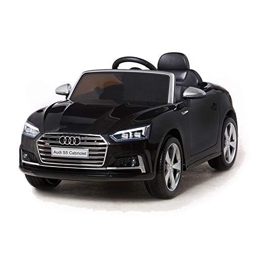 Moni Kinder Elektroauto Audi S5 Cabrio metallic HL258 Eva-Reifen Ledersitz, LED-Licht, Farbe:schwarz