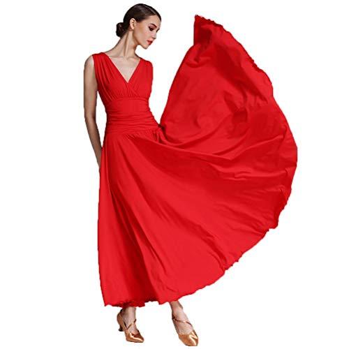 WQWLF Gesellschaftstanz-Kleider für Frauen Leistung/Praxis Rock V-Ausschnitt Modern Waltz Tanz Kostüm Ärmellos Große Schaukel Foxtrott Zumba Tanzoutfits, ()
