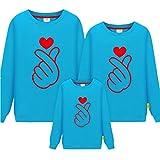 Morbuy Eltern-Kind Damen Herren Kind Pullover/Sweatshirt, Herz Pullover Langarm T-Shirt Rundhals Ausschnitt Lose Bluse Oberteil Hemd Tops Männer und Frauen Weihnachten Geschenk
