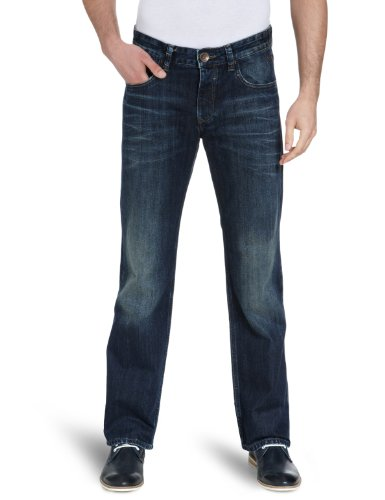 Cross Jeans - Jean Straight Fit  -  Homme Bleu (Everglade Dark Blue Used)