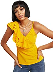 Asymmetric Frill Shoulder Top with Zip Closure For Women Closet by Styli