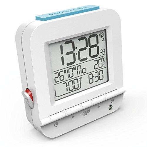 """Hama Funkwecker Digital """"Dual Alarm"""" (digital, 2 Weckzeiten, laut, ansteigender Weckton, sensorgesteuerte Nachtlicht Funktion, Snooze, Temperatur, Datum) Wecker weiß"""