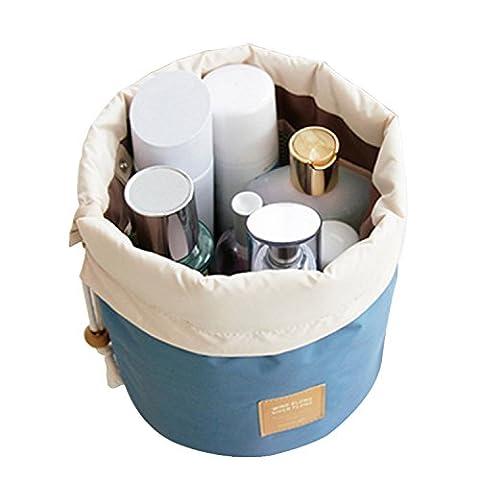 Rancco® Kit de voyage Organisateur Salle de bains de rangement sac de cosmétiques, cordon portatif Compartiment de toilette Carry Pouch Case Storage Maquillage Cosmétiques Kit Box / sac de lavage avec accrochage Crochet(Bleu)