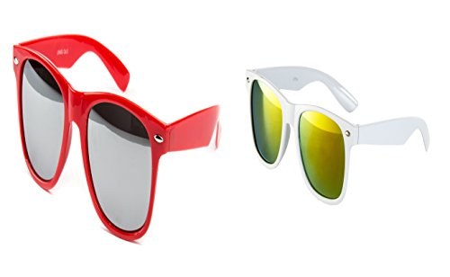 2 er Set Nerd Sonnenbrille Festival Partybrille Brille Sonnenbrillen Rot Verspiegelt Weiß