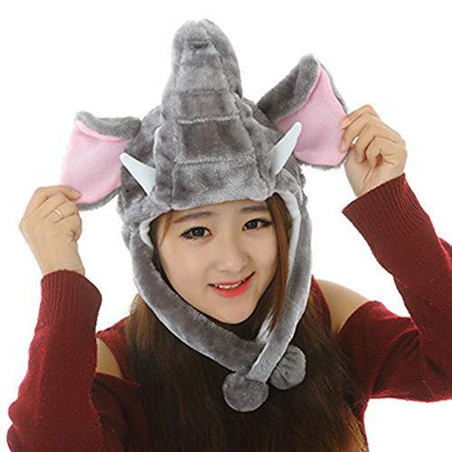 Elegante gorra de camuflaje para niños, de peluche, disfraz de animales, suave elefante