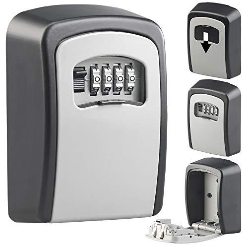 Xcase Schlüsselsafe: Mini-Schlüssel-Safe zur Wandmontage, 1-mm-Aluminium, Zahlenschloss (Schlüsselversteck)