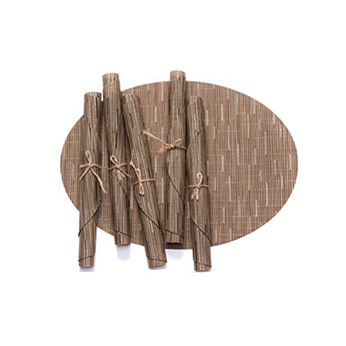 Leisial Tapis de Table en PVC Bambou Écologique Sets de Table Anti-échaudage Antidérapants Décoration de Table pour Dîner Cuisine(Café