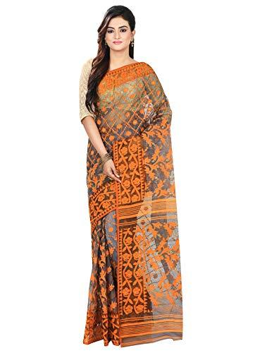 5175c16d2f2d66 RLB Fashion Women s Cotton Silk Handloom Dhakai Jamdani Saree (Grey    Orange) - Ratzz Collection
