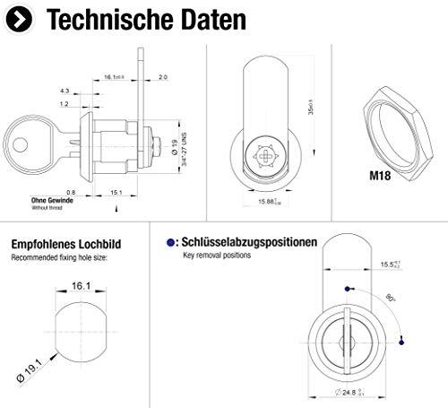 Metafranc Zylinder-Hebelschloss – Bohrmaß 19 mm – gleichschließend – Schließweg 180° – Metall verchromt – Inkl. 2 Schlüssel/Briefkastenschloss / Schrankschloss/Türschloss / Möbelschloss / 340396 - 2