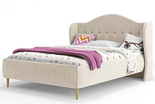 Polsterbett INARI 140x200cm mit Lattenrost, Bettgestell aus Holz; Stofffarbe zu wählen