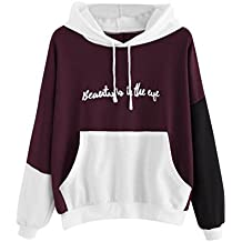 84ec0ead69 TWIFER Weihnachten Damen Reißverschluss Hoodie Punkte Print Kapuzen Sweatshirt  Pullover Bluse