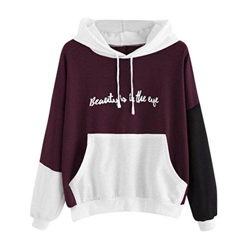 TWIFER Weihnachten Damen Reißverschluss Hoodie Punkte Print Kapuzen Sweatshirt Pullover Bluse (S, Lila) - Hollister Kapuzen-pullover