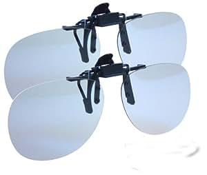 3Dtouch.de Lot de 2 paires de verres 3D à clipser aux lunettes de vue Pour porteurs de lunettes Compatible avec RealD, LG Cinema, Philips Easy, JVC Xpol, Master Image 2, Toshiba et Panasonic