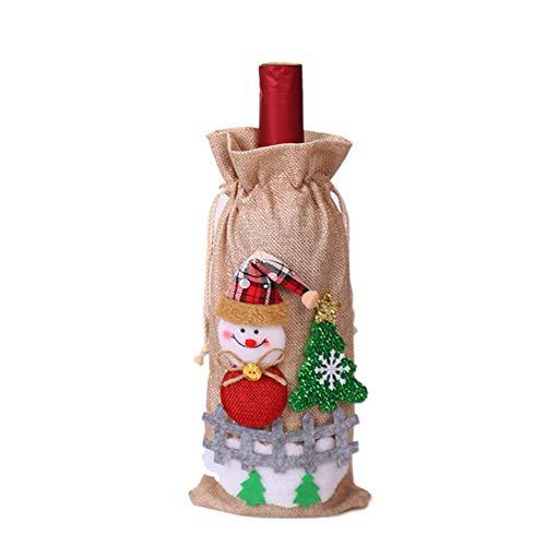 turkeybaby Deckel für Weinflasche, Weihnachten Santa Snowman Lino Deckel Flasche Vino Tasche Esszimmertisch Haus Küche Dekoration für Party Geschenk Weihnachten beige