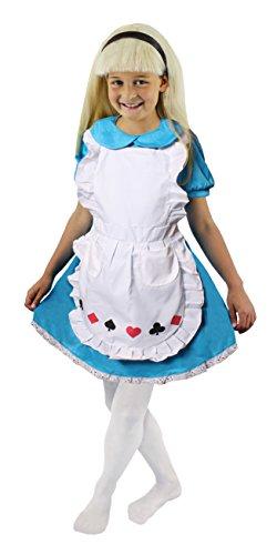 ILOVEFANCYDRESS Alice Kinder KOSTÜM WUNDERLAND VERKLEIDUNG = Fasching-Karneval-BUCHWOCHE +Film +FERNSEHN = 4 VERSCHIEDENEN GRÖSSEN = Kleid IN BLAU +WEIßER SCHÜRZE+Haarband=XLarge