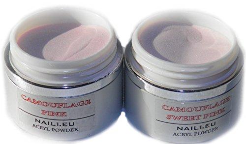 Acryl Set 2x50ml (41g) Camouflage (MakeUp) Pulver Pink und Sweet Pink, Acryl-Puder Acryl-Pulver