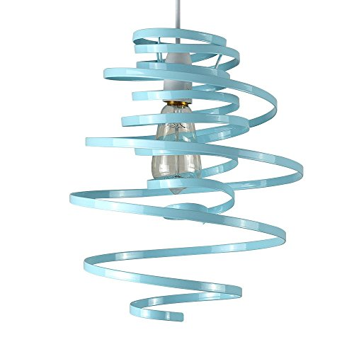 Blue ceiling lights amazon contemporary gloss duck egg blue metal double ribbon spiral swirl ceiling light pendant mozeypictures Image collections