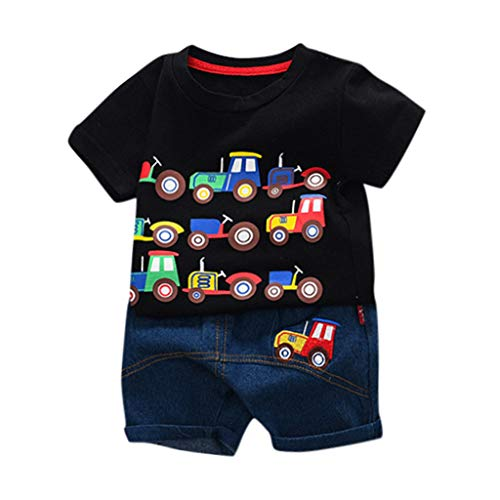 Julhold Kleinkind Kinder Baby Jungen Mode Lässig Cartoon Auto Brief T Shirt Oberteile Slim Jeansshorts Outfits Set 0-3 Jahre