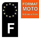 DECO-IDEES 1 Sticker pour Plaque d'immatriculation Moto, F Noir- Stickers Garanti 5 Ans - Nos Stickers sont recouvert d'un pelliculage de Protection spécifique
