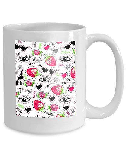 Mug Coffee Tea Cup Bright Eyes Strawberry Arrow Roses Sunglasses Hearts Trendy 110z