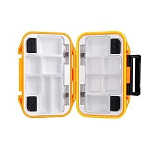 dodocool Portable 12 compartiments boîte de rangement étanche Pêche à la mouche Lure Spoon crochet Bait Pêche Box Orange