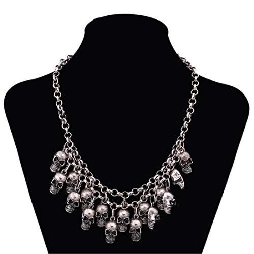 (VUKUB Frauen Blutherz Tassel Halskette Punk Schädel Halskette Party Gothic Schmuck Rote Kristall-Halskette Für Frauen,Silver)