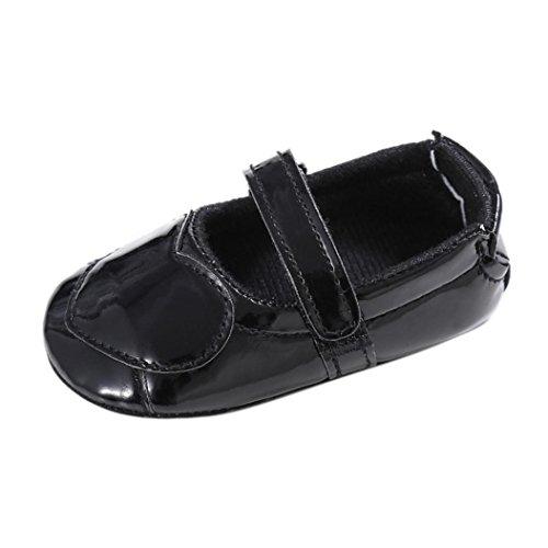 Koly_Ragazza del bambino pattini della greppia Newborn Fiore morbida suola anti-scivolo baby Sneakers (SIZE13, Nero)